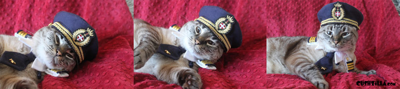Captain Jitters getting dressed for flight