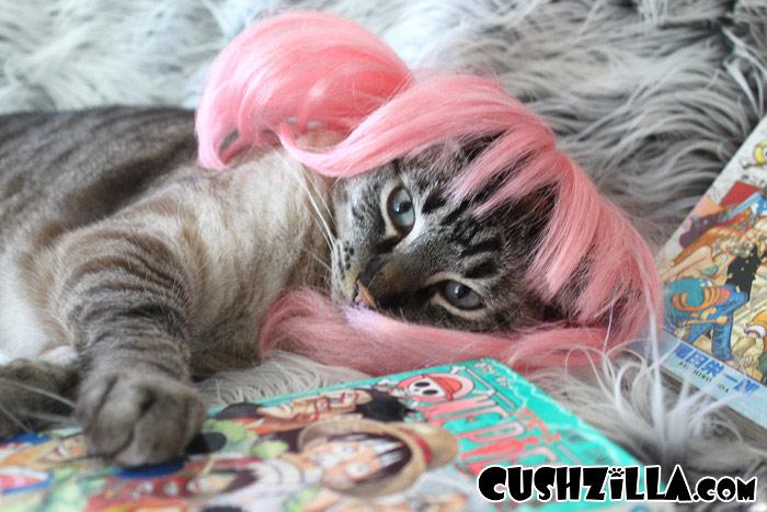 Dog Wig Cat Wig Cushzilla Pink Anime Pet Wig