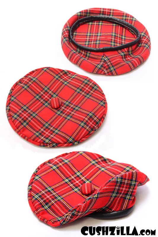 ef25c49100a52 Cat Hat / Dog Hat - Red Plaid Chatte Beret from Cushzilla